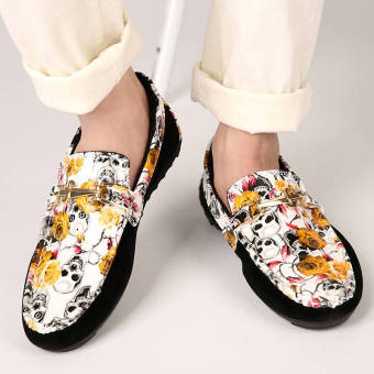 Fashion Men Flowers Flat Loafers – Yellow