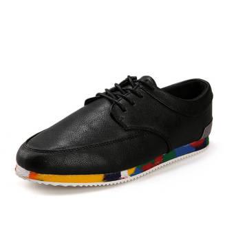 Fashion Men Lace-Ups Flat Shoes (Black)