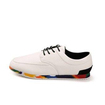 Fashion Men Lace-Ups Flat Shoes (White)