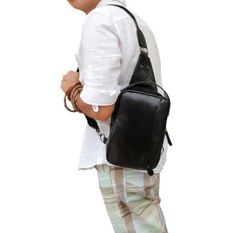 Fashion Men PU Leather Messenger Cross Shoulder Chest Pack Body Bagblack
