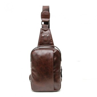 Fashion Men PU Leather Messenger Cross Shoulder Chest Pack Body Bagdark brown