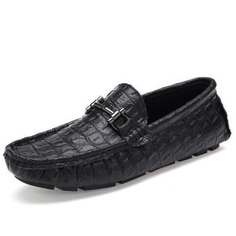 Fashion Men Simple Flat Loafers - Black