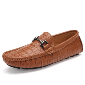 Fashion Men Simple Flat Loafers - Brown