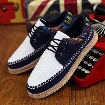 Fashion Men Woodgrain Flat Loafers – White - picture 2