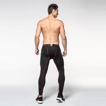 Fashion Men's Jogger Running Long Pants Sports Training Tight Compressed Exercise Leggings (Black) - intl - 3