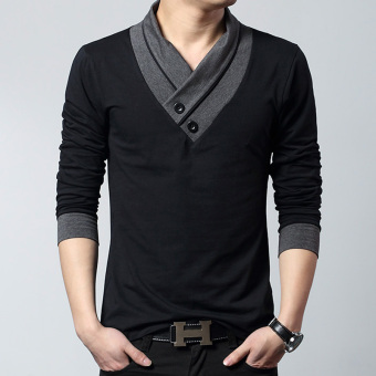 Fashion men's long-sleeved men T-shirt (Black)