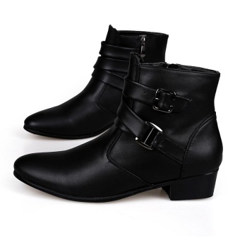 Fashion Men's Pointed Toe Leather Ankle Boots High Grade Men Martin Boot (Black) - intl - 5