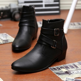 Fashion Men's Pointed Toe Leather Ankle Boots High Grade Men Martin Boot (Black) - intl - 2