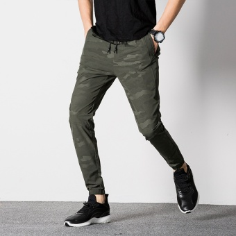 Fashion Men's Camo Army Color Casual Jogger Long Pants-DarkBlue(CN858) - intl - 4