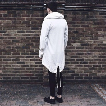 Fashion Mens Cardigan Fit Jacket Hooded Long Cloak Cape CoatCosplay Loose Casual Slim White - intl - 3