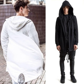 Fashion Mens Cardigan Fit Jacket Hooded Long Cloak Cape CoatCosplay Loose Casual Slim White - intl - 5