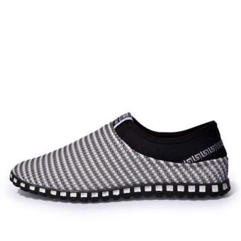 Fashion Mesh Flat Shoes-Grey