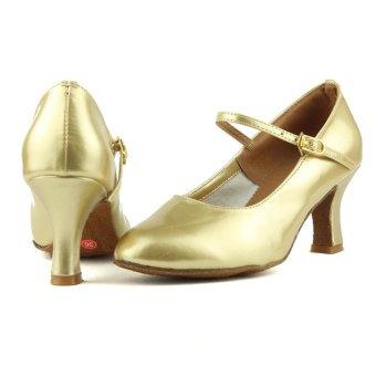 Fashion modern woman's ballroom salsa dance shoes latin shoes(Gold)(Intl) - 3