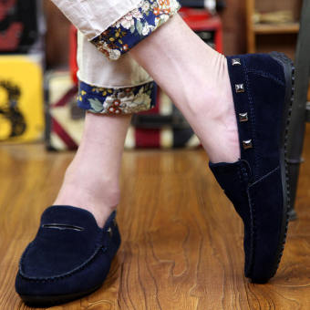 Fashion New Rivet Leather Loafers (Dark Blue) - picture 2