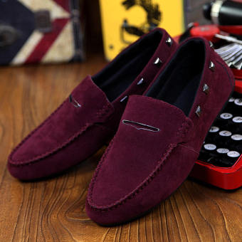 Fashion New Rivet Leather Loafers -Wine Red - picture 2