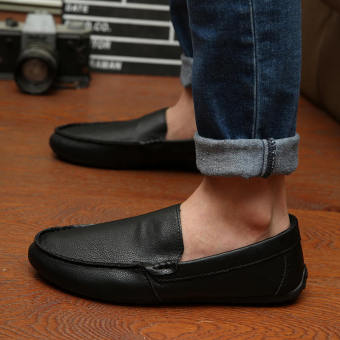 Fashion New Simple Letter Loafers -Black - picture 3
