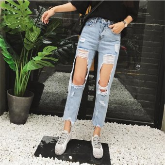 Fashion New Women's Loose Plus Large Size Ripped Jeans Lady'sBoyfriend Jeans for Women Female Casual Hole Denim Pants Pencil -intl