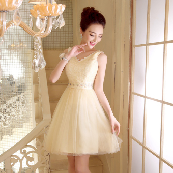 Fashion party dress wedding dress (528 short champagne color) (528 short champagne color)