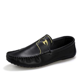 Fashion Pattern Men Loafers - Black