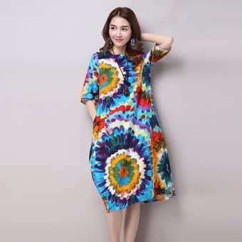 Fashion Popular Style Plus Size Floral Dress - Blue - intl