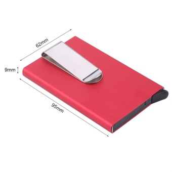 Fashion Portable Business Credit Card Holder Outdoor CardsContainer With Money Clip(Blue) - intl - 5