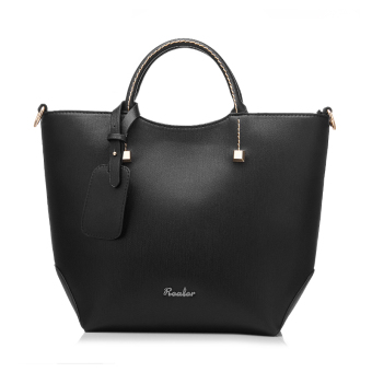 Fashion PU Leather Tote Bag Vintage Women Shoulder Bag (Black) - Intl