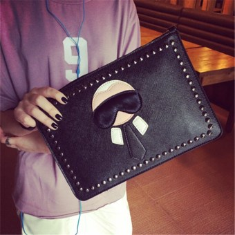 Fashion riveted envelope trendy bag clutch bag (Black)