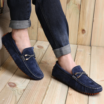 Fashion Seasons Men Leather Loafers - Dark Blue