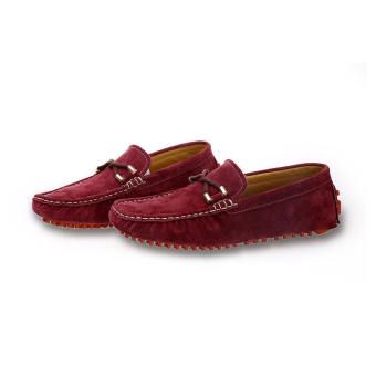 Fashion Seasons Men Leather Loafers - Wine red