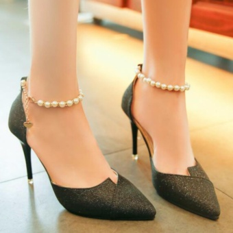 Fashion Sexy high-heeled shoes pearls Ring Charm Black - intl