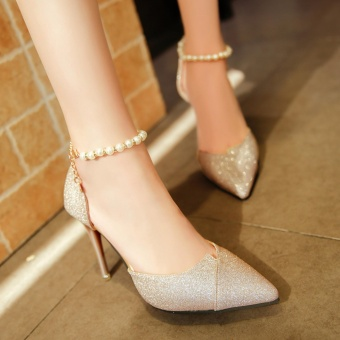 Fashion Sexy high-heeled shoes pearls Ring Charm Gold - intl