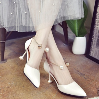 Fashion Sexy high-heeled shoes Pointed Thin Shallow Sandals WomenShoes White - intl