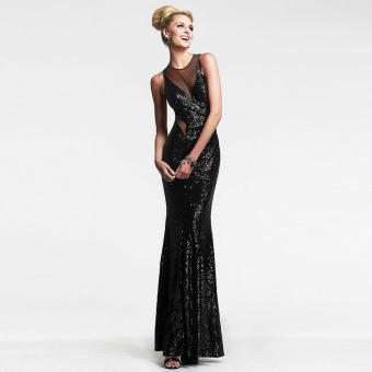 Fashion Sexy Women Dress Female Wedding Casual Dress Party EveningSequined Backless Long Dress Corset Black - intl