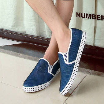 Fashion Simple Breathable Loafers -Dark Blue - picture 3