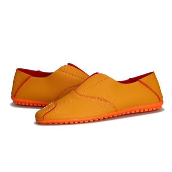 Fashion Simple Leather Men's Loafers – Orange - picture 2