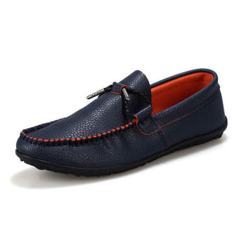 Fashion Simulation Leather Autumn Loafers Blue
