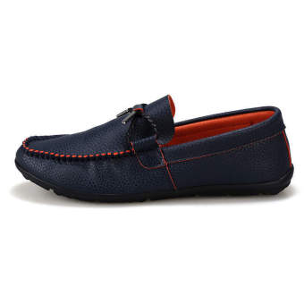 Fashion Simulation Leather Autumn Loafers Blue - picture 2