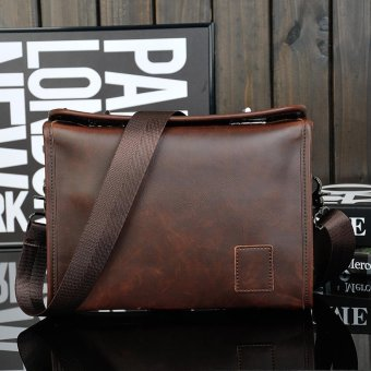 Fashion Single Shoulder bag Leather Messenger Bag Retro Briefcase - intl