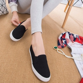 Fashion Slip On Loafers for Women - Black - 4