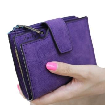 Fashion Small Female Purse short purse Lady Letter Snap Fastener Zipper Short Clutch Wallet Solid Vintage Matte Women Wallet Rose - intl - 2
