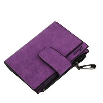 Fashion Small Female Purse short purse Lady Letter Snap Fastener Zipper Short Clutch Wallet Solid Vintage Matte Women Wallet Rose - intl - 5