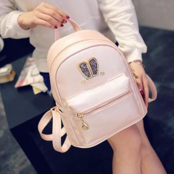 Fashion Small Women Backpacks Small Zipper Pu Leather Student Backpack Preppy Style Backpack Girls Women Back Pack Pink - 5