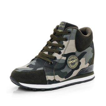Fashion Sneakers Women Camouflage Casual Shoes Hidden Wedges Women Canvas Shoes Ladies Platform Trainers Inner Heightening Heels Shoes ( Army Green ) - intl