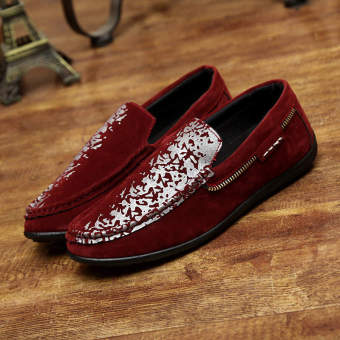 Fashion Spring Zipper Design Pattern Loafers (Red) - picture 2