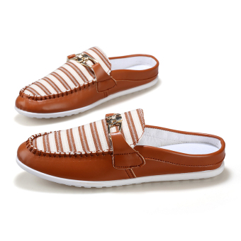 Fashion Striped slippers - Brown