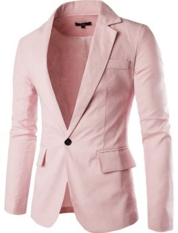 Fashion Stylish Men's Blazer Coat Jacket Casual Slim Fit One Button Suit pink