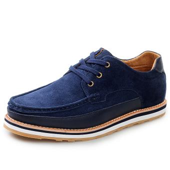 Fashion Suede Lace-Ups Flat Shoes-Blue