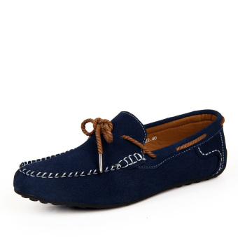 Fashion Suede Leather Men's Loafers - Blue