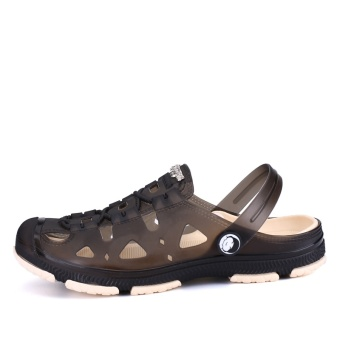 Fashion Summer Men slippers Breathable beach sandals croc maleshoes Hollow out of the drag men shoes sandals for summer brown -intl - 2
