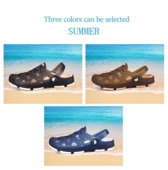 Fashion Summer Men slippers Breathable beach sandals croc maleshoes Hollow out of the drag men shoes sandals for summer brown -intl - 5